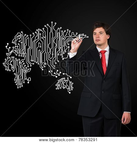 Businessman  Drawing Microcircuit