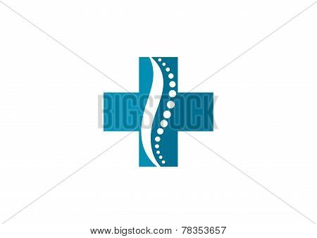 cross medic chiropractic vector logo design