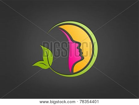 healthy woman logo,spa,cosmetic,care,fashion design