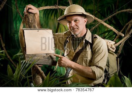 Explorer Pointing To A Sign