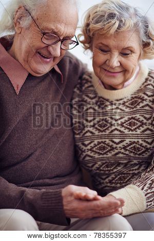 Devoted couple of pensioners