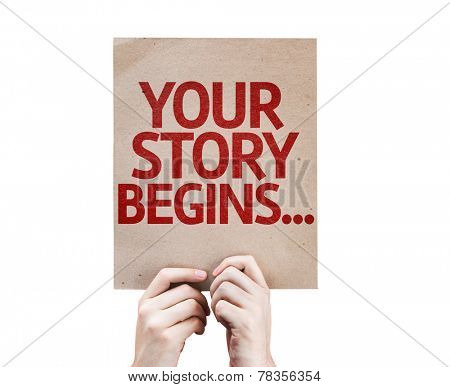 Your Story Begins... card isolated on white background