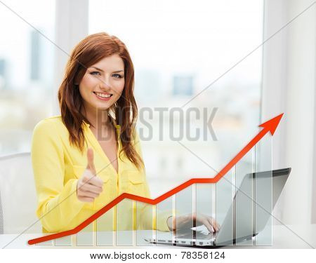 people, technology, statistic sand business concept - smiling woman with laptop computer and growth chart showing thumbs up at home