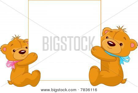 Two Bears holding a blank sign