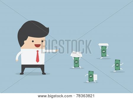 Businessman Order Money To Do Work Instead Him