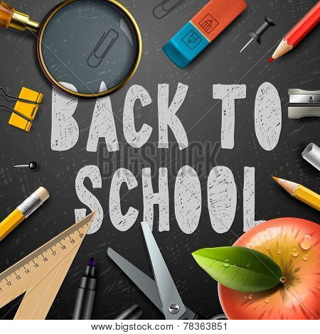 Back to school chalk drawing template with schools supplies