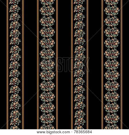 Seamless background with floral pattern and stripes