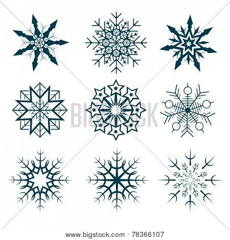 Vector collection of nine abstract snowflakes