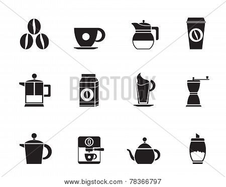 Silhouette coffee industry signs and icons