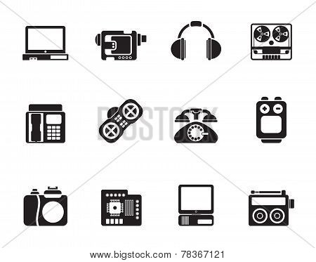 Silhouette electronics, media and technical equipment icons