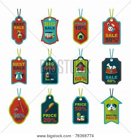 Pet Tag Flat Banner Design Background Set, Eps10