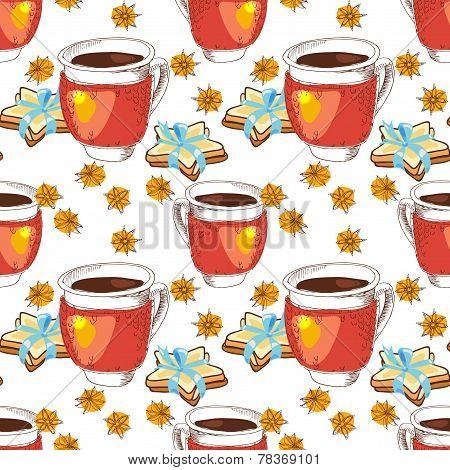 Seamless texture cup of tea