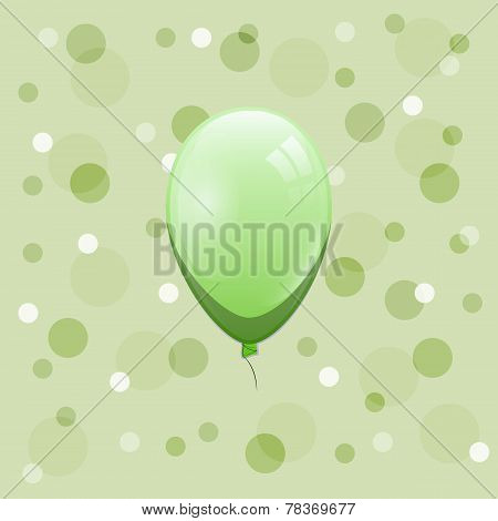Green Balloon On Bokeh Background