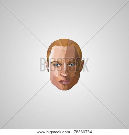 illustration with an blond man face in polygonal style