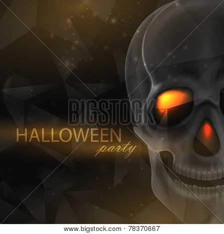Vector halloween illustration of an evil skull on geometric polygonal background