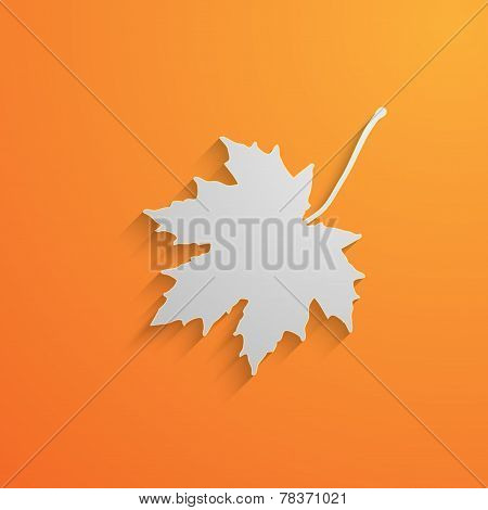 vector illustration of a paper 3d  maple leaf with shadow. autumn
