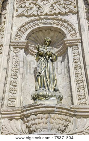 Church and Convent of San Francisco, statue neat the entrance - La Paz, Bolivia