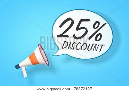 A megaphone with a speech bubble and the message 25 percent discount