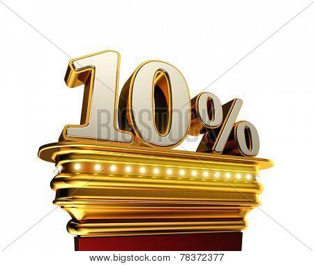 Ten percent figure on a golden platform with brilliant lights over white background