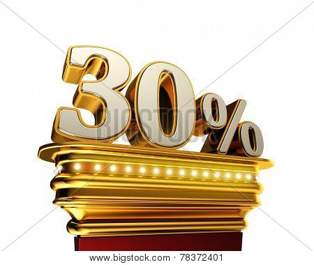 Thirty percent figure on a golden platform with brilliant lights over white background