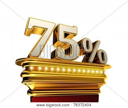 Seventy five percent figure on a golden platform with brilliant lights over white background