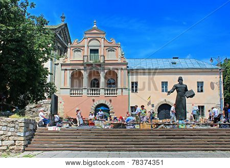 Book flea market near the monument of Ivan Fyodorov the first printer in Ukraine