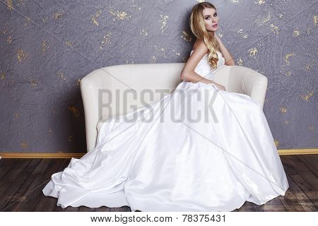Beautiful Bride With Blond Hair In Luxurious Wedding Dress