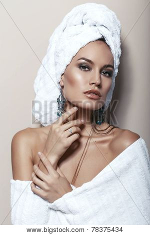 Portrait Of Beautiful Woman With Towel On Her Head