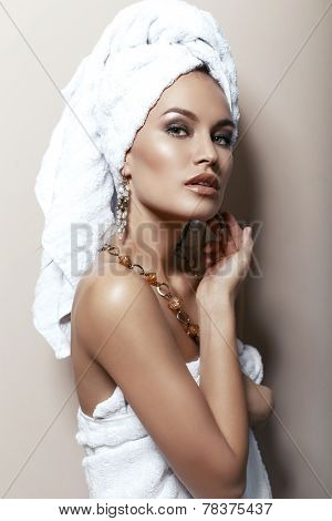 Portrait Of Beautiful Woman With Towel On Her Head,with Bijou