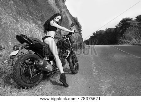 Biker Theme: Beautiful Woman With Sexy Body Posing With Motorbike, Outdoors