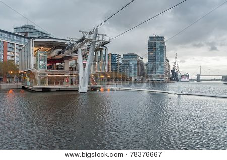 Royal Victoria Docks Cable Car Station On A Rainy Day.