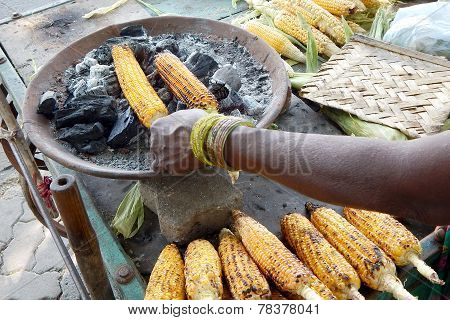 Roasting corn on the cob