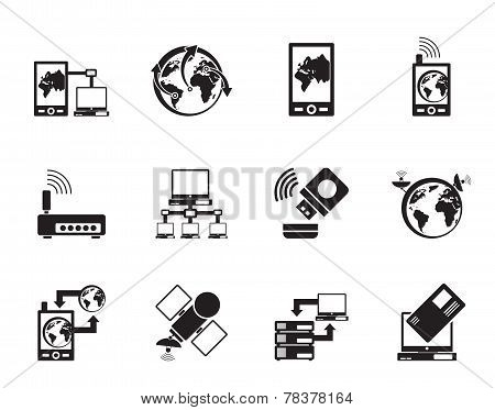 Silhouette communication, computer and mobile phone icons