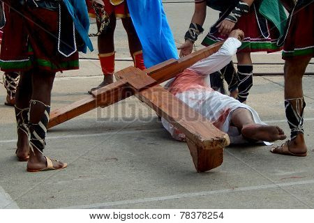 Christians celebrate Good Friday by enacting the crucifixion of Jesus Christ act
