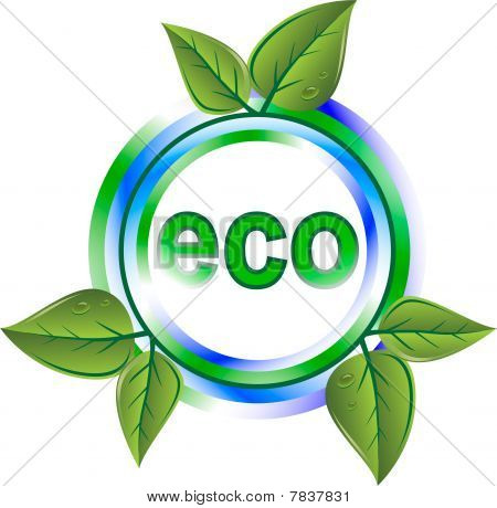 eco green icon with leaves