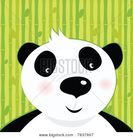 Black and white panda bear on bamboo leaf green background
