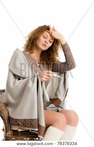 Girl In Shawl Checks Temperature