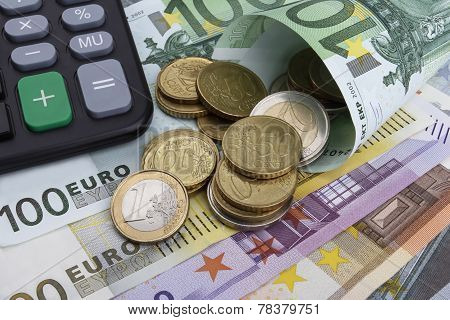 Euros (eur) Notes And Coins. Business Concept.