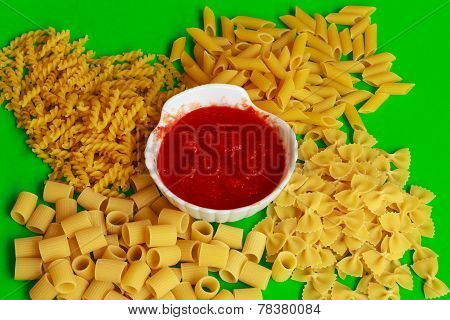 Different Shapes Of Pasta With Red Sauce