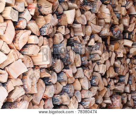 Woodpile From Dry Oak Logs.
