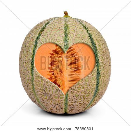 Cantaloupe melon with heart