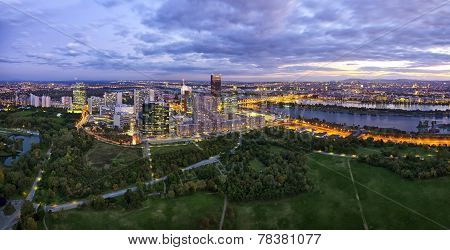 Donau City Vienna At The Danube River at dusk