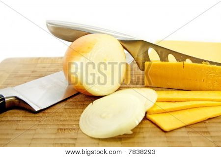 Cheese And Onion With Knives