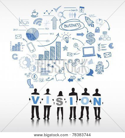 Silhouettes of Business People and Vision Concept