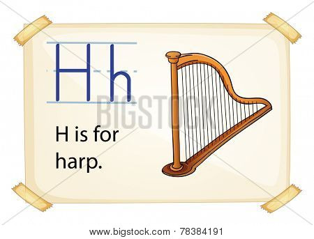 Illustration of alphabet H is for harp