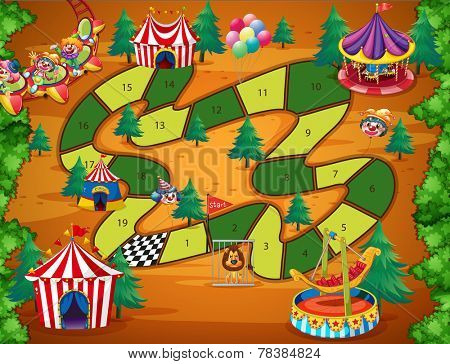 Boardgame with numbers and circus theme