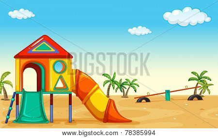 Outdoor children acitivty with playset