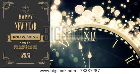 Art deco new year greeting against black and gold new year graphic