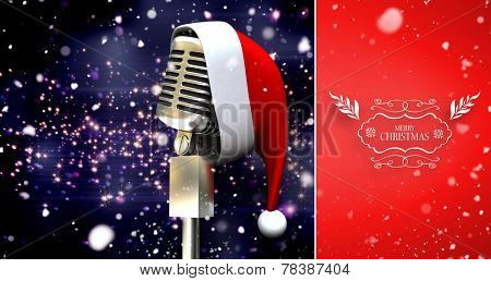Snow falling against microphone with santa hat