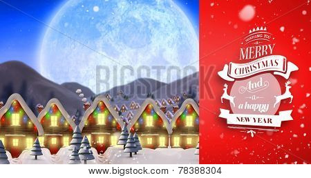 Snow falling against quaint town with bright moon